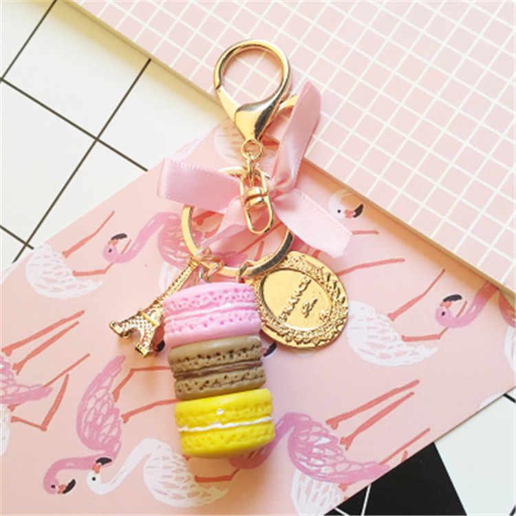 النساء كعكة مفتاح سلسلة موضة نيس لطيف الفرنسية المعجنات حقيبة سلسلة مفاتيح حلية سيارة حلقة رئيسية حفل زفاف هدية مجوهرات