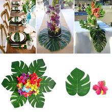 30Pcs Artificial Monstera Leaf + 24Pcs Hibiscus Flower Party Table Decor Mat Decoration Reusable Realistic Shape
