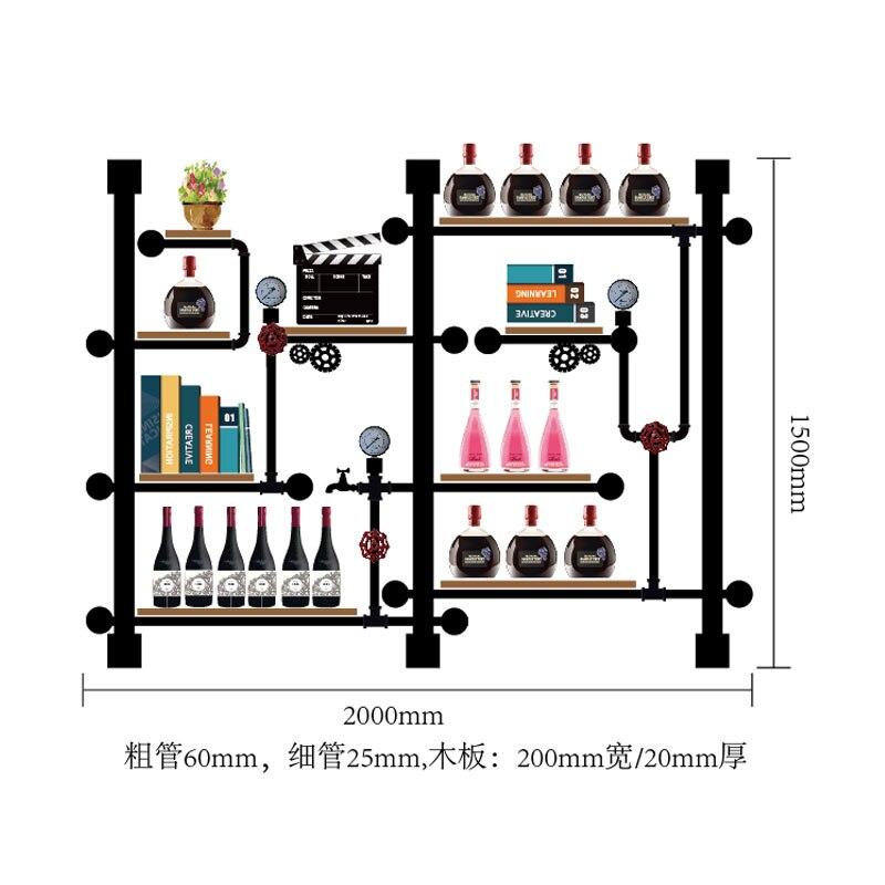 CF3 Creative Wine Rack Storage & Display,bookshelf/house Decoration Art Tv Cabinet Made Of Iron Pipes And Board Creative Shelf