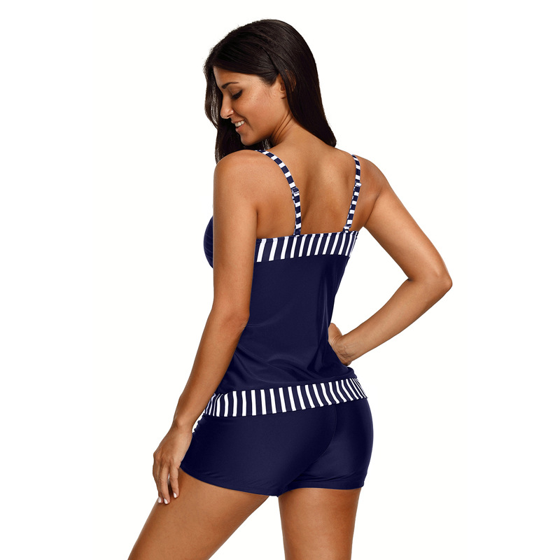 Shi ying-noir et blanc couture rayures Camisole taille haute Boxer avec coussin de poitrine fendu Type conservateur maillot de bain 41032