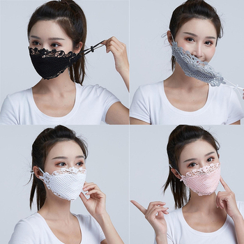 1PC Lace embroidery summer ice silk Korean ladies mask sexy personality breathable sunscreen mask White Black Blue Wholesale