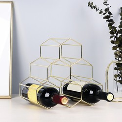 Countertop Metal Wine Rack 6 Bottles Wine Storage Holder Space Wines Protector Living Room Decorative Cabinet Wine Display Shelf