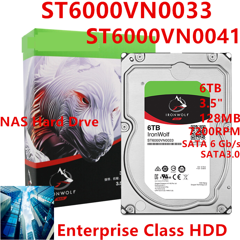 """New HDD For Seagate Brand IronWolf 6TB 3.5"""" SATA 6 Gb/s 128MB 7200RPM For Internal HDD For EnterpriseHDD For ST6000VN0033/0041 1"""