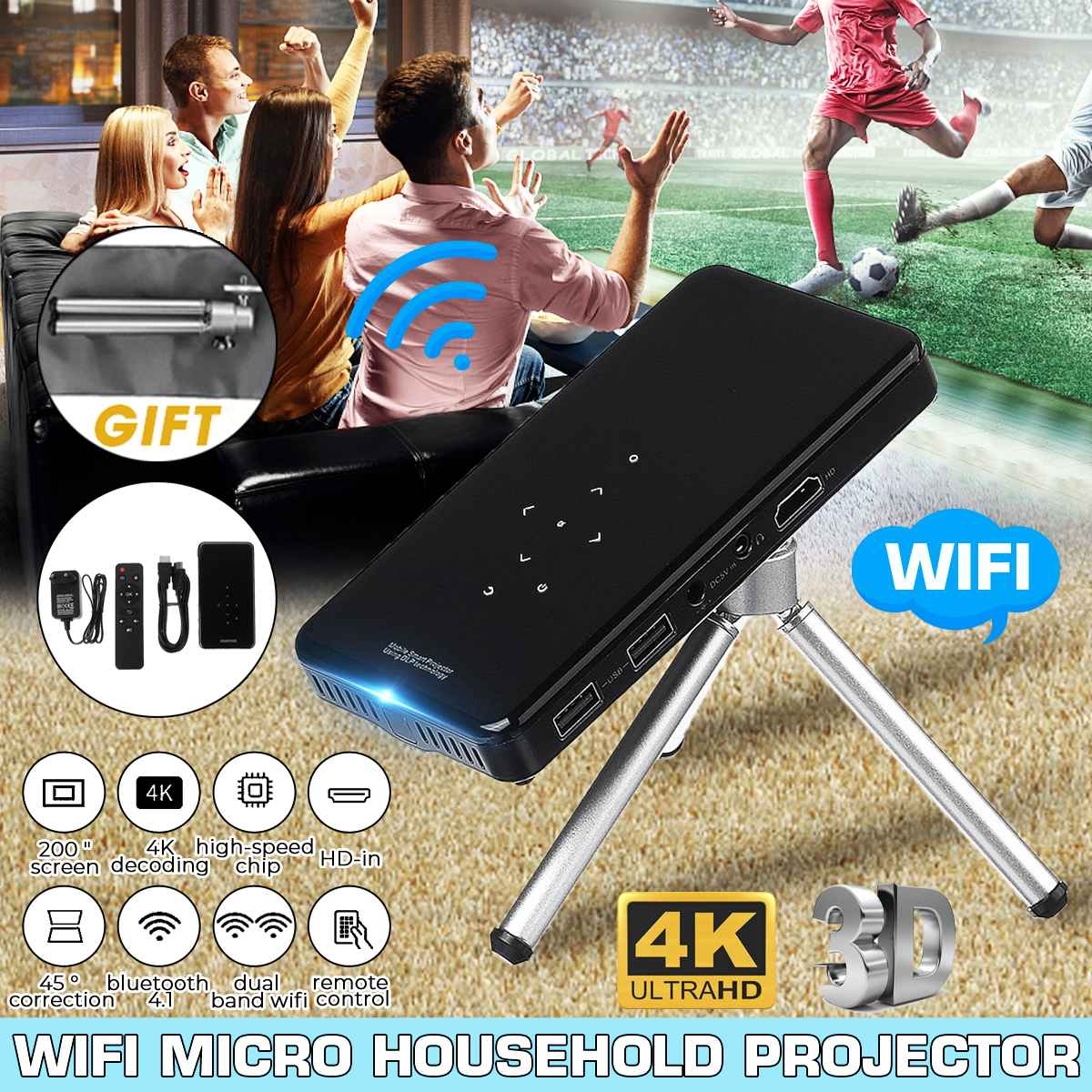 Mini 4K DLP Android Projector WiFi bluetooth 4.0 Portable LED Video Projector Home Cinema Support Miracast Airplays image