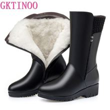 GKTINOO 2021 New Winter Cow Leather Boots For Women Shoes Wedges Inside Plush Wool Snow Boots Plus Size In-tube Boot Women Boots