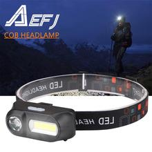 LED Headlamp XPE+COB Headlight Head Lamp Flashlight USB Rechargeable 18650 Torch Camping Runing Fishing Light