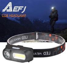 Светодиодный налобный фонарь XPE + COB, налобный светильник, лампа вспышка, Перезаряжаемый USB фонарь 18650, походный светильник для рыбалки