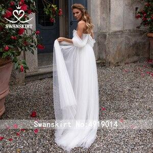 Image 2 - Sweetheart ozdobiony paciorkami ślubny sukienka 2 w 1 odpinany Off ramię Ruched Tulle linia Swanskirt D101 suknia ślubna Vestido de novia