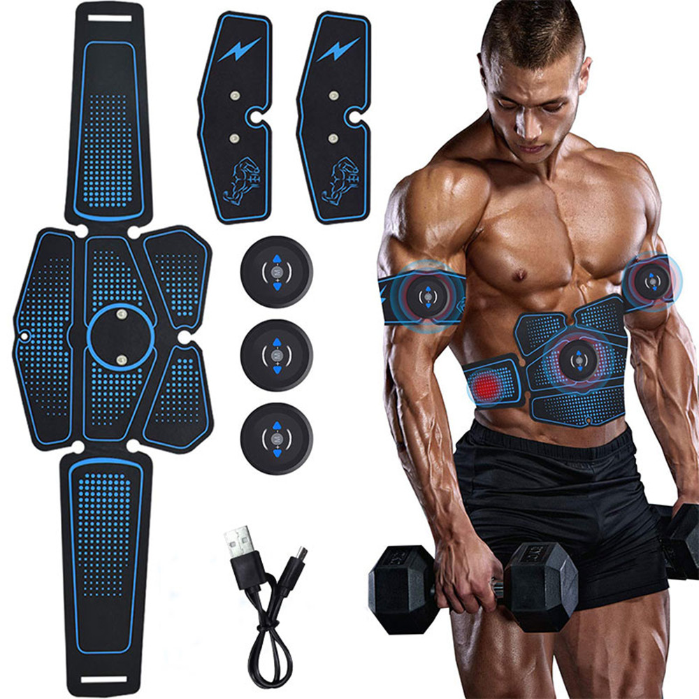 Abdominal Exerciser Muscle Stimulator Gear Press Trainer USB Total Abs Belly Arm Machine Workout Home Gym Fitness Equipment image