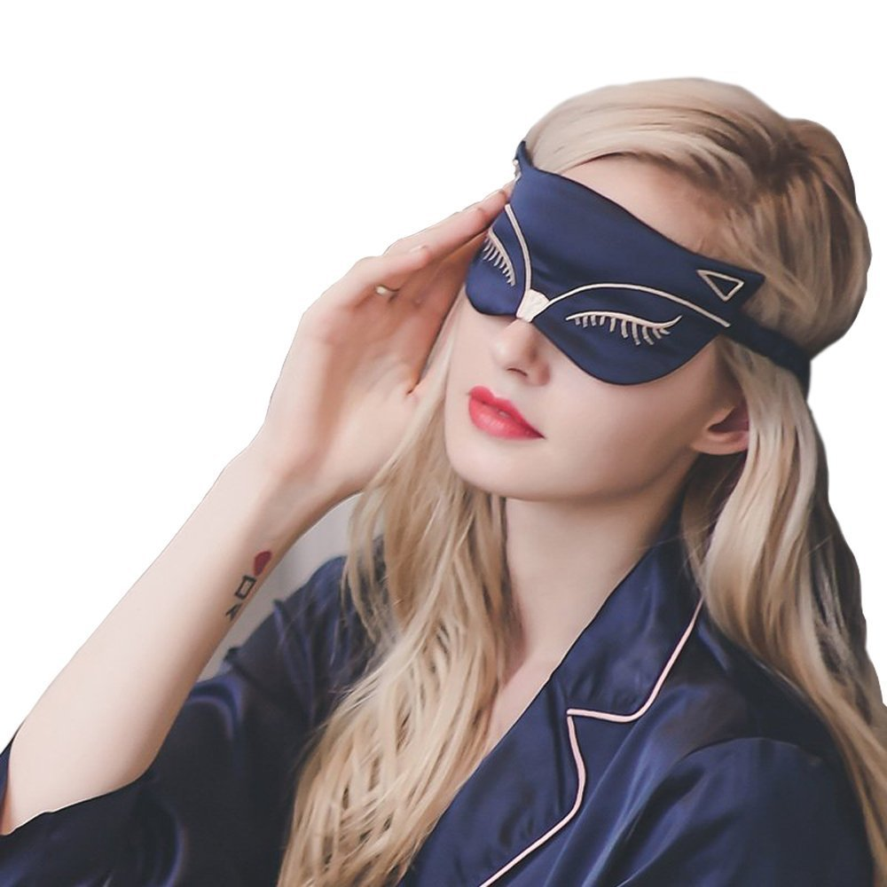 100% Mulberry Silk Silk Eye Mask Shade Sleep Eye Patch Cartoon Small Fox Embroidered Eye Cover Sleeping Eyeshade