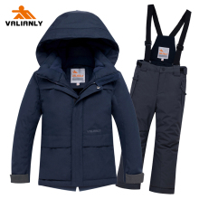 цены 2019 Boys Winter Ski Suit Children Snow Suit Waterproof Warm Kids Ski Jacket Pants 2 Pieces Snowboarding Sets Kids Boys Clothes