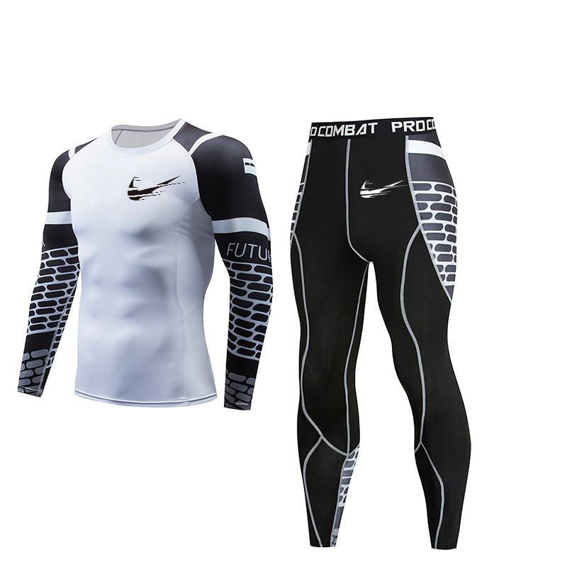 2019 Men's Fitness Sportswear Fitness Clothing Compression Suit Outdoor Fitness Running Tight-fitting Sports 3D Men MMA Suit