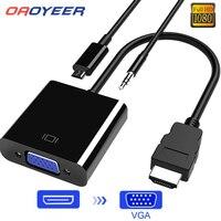 HDMI-Cable adaptador VGA macho a hembra, convertidor para PS4 1080P Digital a analógico, Audio de vídeo para PC, portátil y tableta