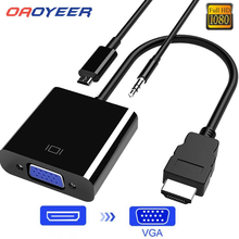 HDMI-compatible to VGA Adapter Cable Male To Famale Converter for PS4 1080P Digital to Analog Video Audio For PC Laptop Tablet