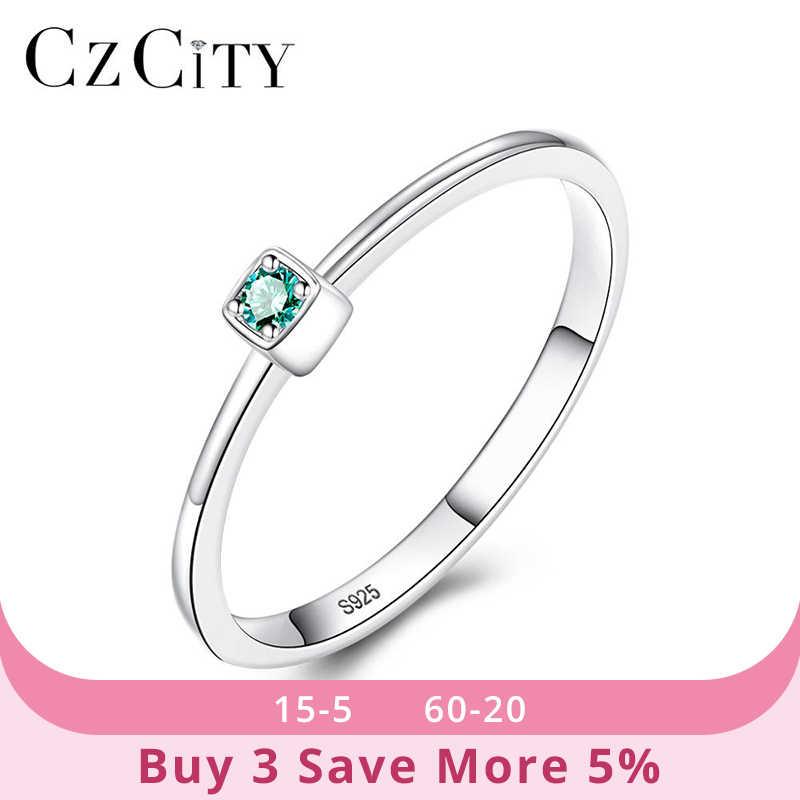 CZCITY אמיתי 925 סטרלינג כסף VVS ירוק טופז חתונה לנשים מינימליסטי דק מעגל פנינה טבעות תכשיטי גילוף S925