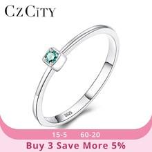 CZCITY-anillos de boda de topacio verde VVS para mujer, de Plata de Ley 925 auténtica, anillos de Gema circulares finos minimalistas, joyería de tallado S925