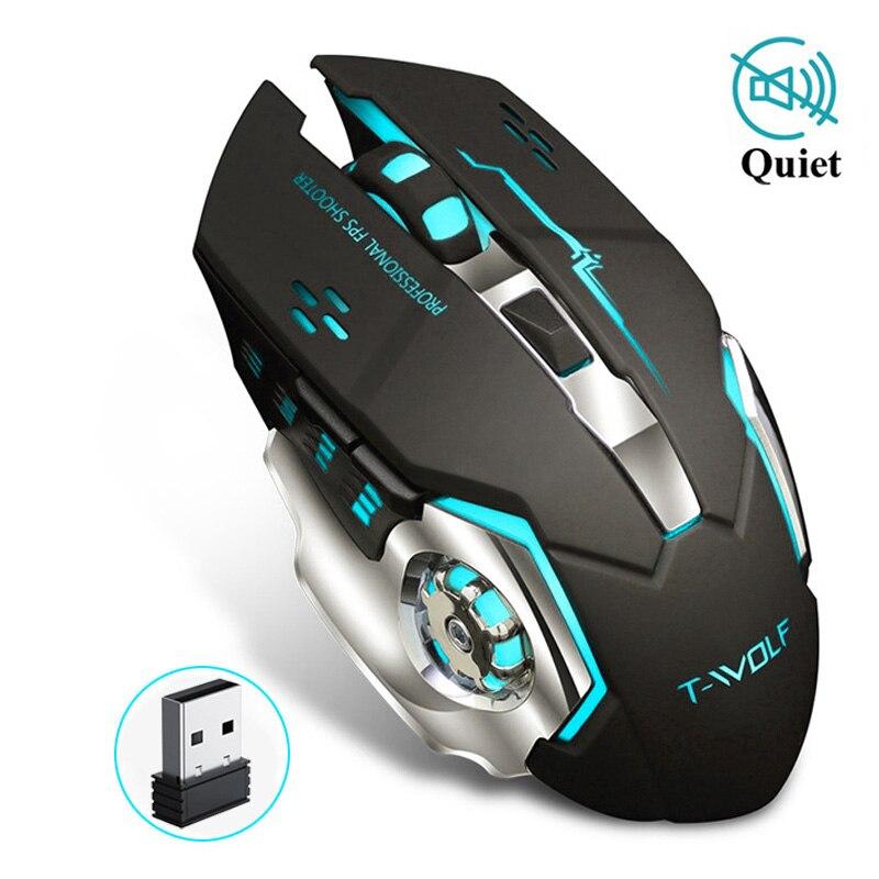 Sem fio gaming mouse 2400 dpi recarregável ajustável 7 cores backlight respiração gamer mouse jogo ratos para computador portátil