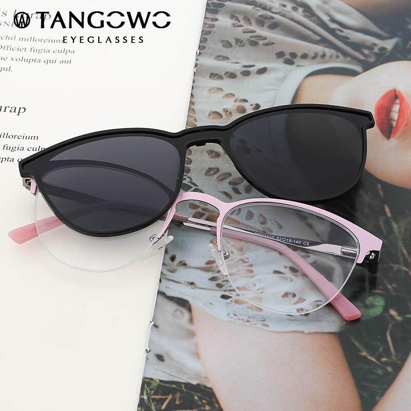 TANGOWO Retro Cateye Polarized Sunglasses Women Clip on Brand Designer Optical Myopia Eyeglass Frame Magnetic Glasses DP33105|Women's Eyewear Frames| - AliExpress