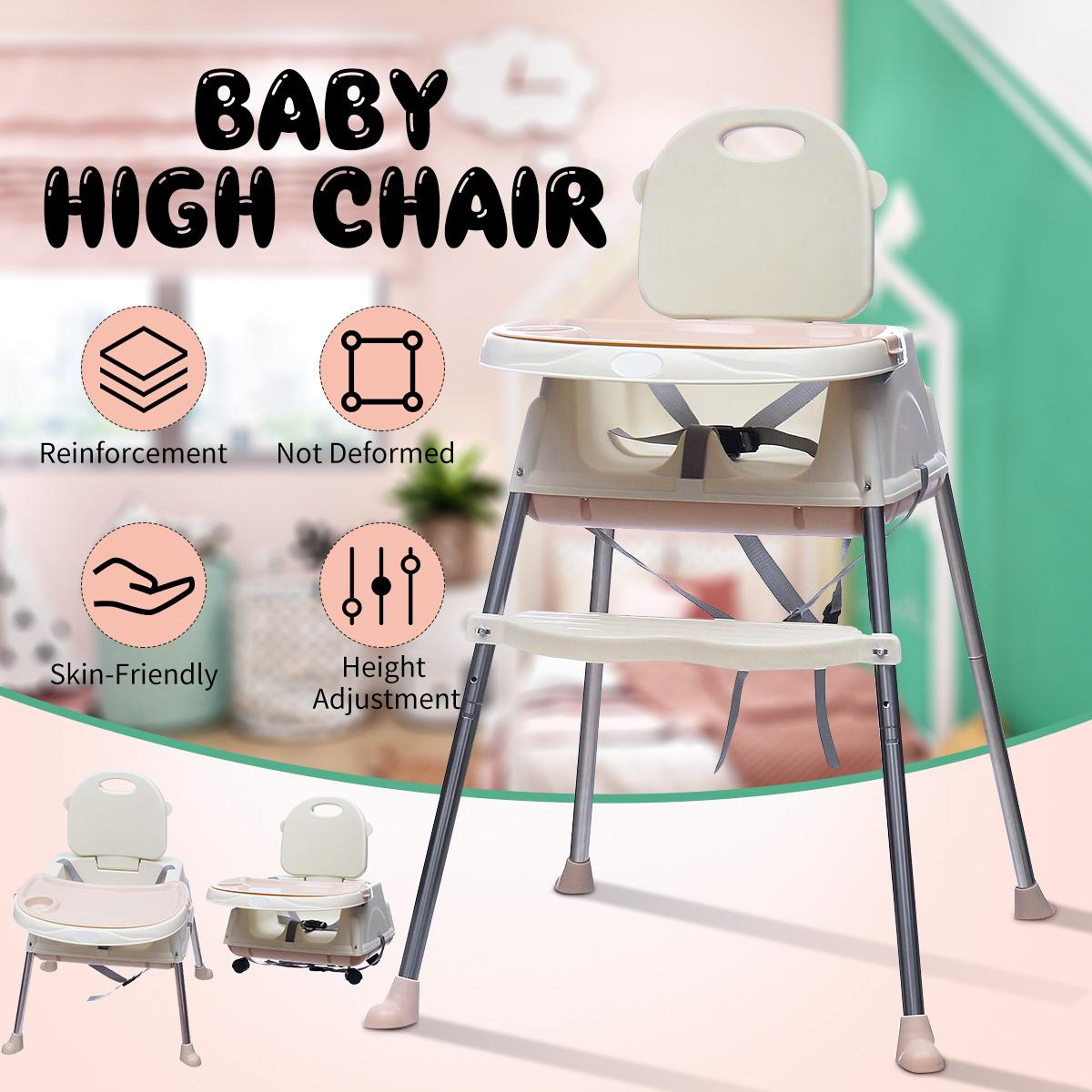 Baby High Feeding Chair Portable Kids Table Foldable Dining Chair Adjustable Height Multifunctional Food Chair With Wheels