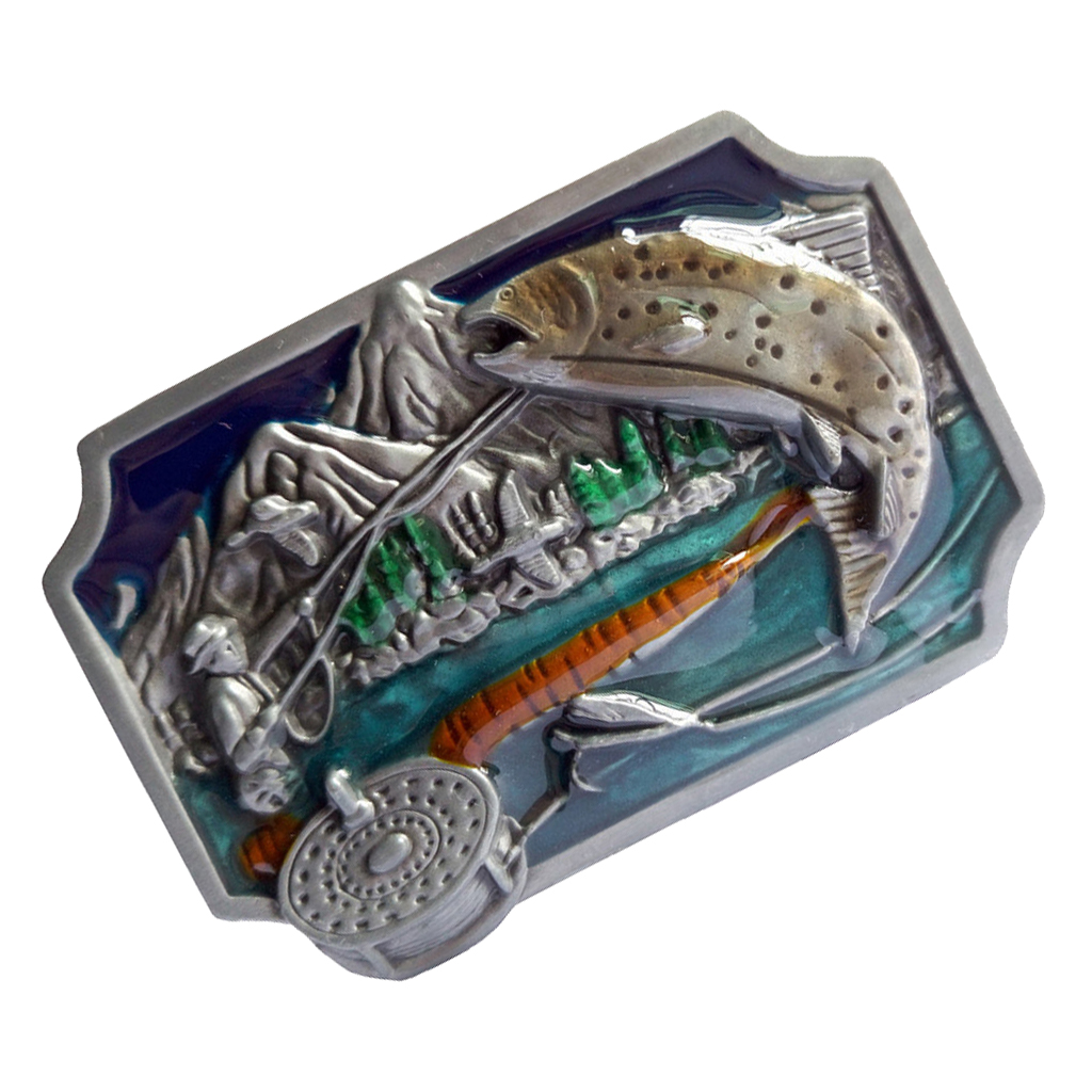 Enamel Flying Fishing Belt Buckle Metal Western Cowboy Jeans Accessories For Boys Men