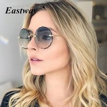Retro Metal Round Frameless Floral Sunglasses Female Frame Sun glasses Beach Sun