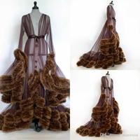 Brown 2020 Fur Women Robe Long Sleeve Sexy Nightgown Deep V Neck Ruffles Sleepwear Bathrobe Pajamas Prom Bridesmaid Shawel