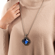 New fashion women pendant necklace square big drop crystal national wind long chain sweater Retro jewelry collar ladies