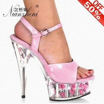 High-heeled sandals women Flower 15cm thin heels show thin crystal platform silver sequined waterproof nightclub model sandals