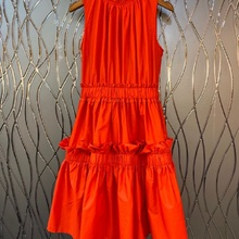 Orange Dress Pleated-Patchwork Black High-Quality Spring Summer Ruffle Fashion Ladies