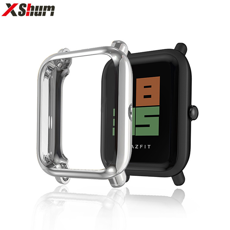 XShum Amazfit Bip Case Protector For Huami Amazfit Bip Accessories Xiaomi Bumper Plating TPU Shell Case Cover Screen Protection