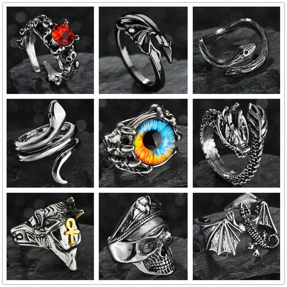 Retro Punk Skull Wolf Dragon Snake Ring for Men Women Opening Adjustable Rings Evil Eye Purple Color Anillo Hombre Bijoux
