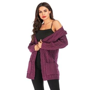 Autumn Winter Long Sleeve Knitwear Cardigan Women oversized Knitted long sweater Outwear Lady Elegant Jumper Coat Jacket