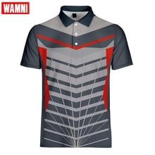 WAMNI Brand Quick Drying Badminton T Shirt Harajuku 3D Polo Sport Loose Stripe Casual Unisex Bodybuilding Male Polo-shirt