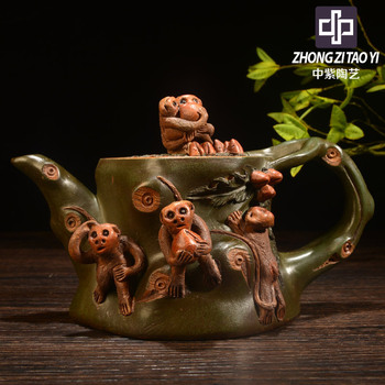 In Purple Taiwan Backflow Manual Imitate Old Kettle Yixing The Qing Dynasty Old Dark-red Enameled Pottery Teapot One Factory