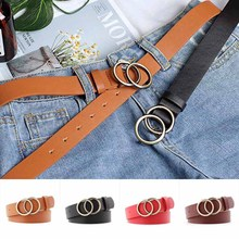 Fashion  Women Faux PU Leather Belt Solid Color Waistband For Dress Jeans Double Round Circle Buckle Casual