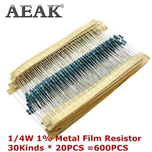 AEAK 600 ชิ้น/เซ็ต 1/4Wความต้านทาน 1% 30 ชนิดแต่ละมูลค่าตัวต้านทานฟิล์มโลหะชุดresistors