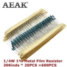 AEAK 600 pièces/ensemble 1/4W résistance 1% 30 types chaque valeur métal Film résistance assortiment Kit résistances