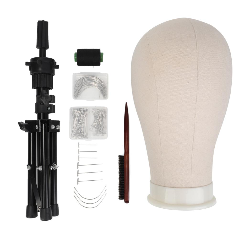22''Training Mannequin Head Canvas Head For Wigs Making Wig Hair Brush With T Pins Needles Set With Tripod Wig Stand