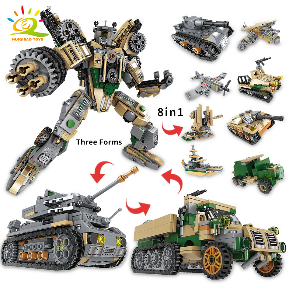 HUIQIBAO 1078pcs 8in1 Military Robot Building Blocks Tank Truck Mecha Plane Chariot Vehicle Figures Bricks Set Toys For Children