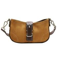 Vintage Canvas Saddle Female Shoulder Bags PU Leather Strap