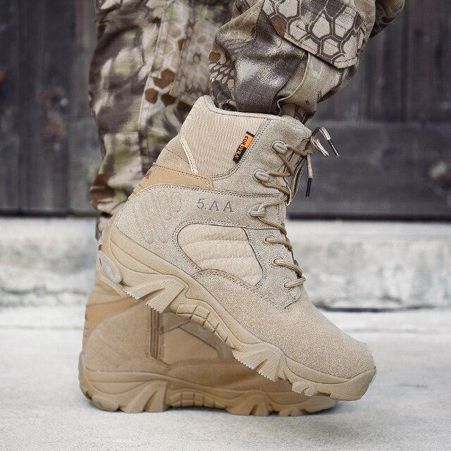Botas militares t cticas para hombre botines de combate de cuero impermeables para el desierto HX