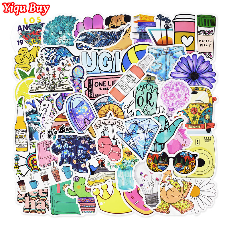 50 PCS Summer Fresh Stickers Children Backpack Motorcycle Bicycle Bumper Fridge Skateboard DIY Cute Waterproof Graffiti Sticker