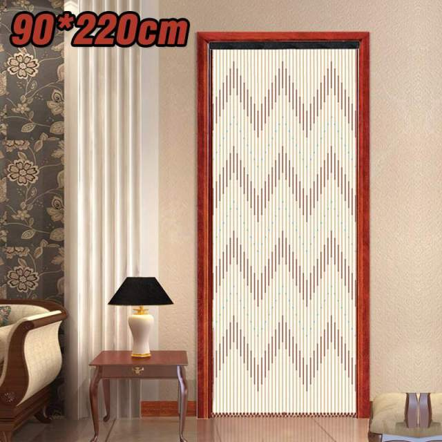 90x220cm High Quality Wooden Door Curtain Blinds Handmade Fly Screen Wooden Beads Room Divider 31 Line Non-toxic No Smell 1