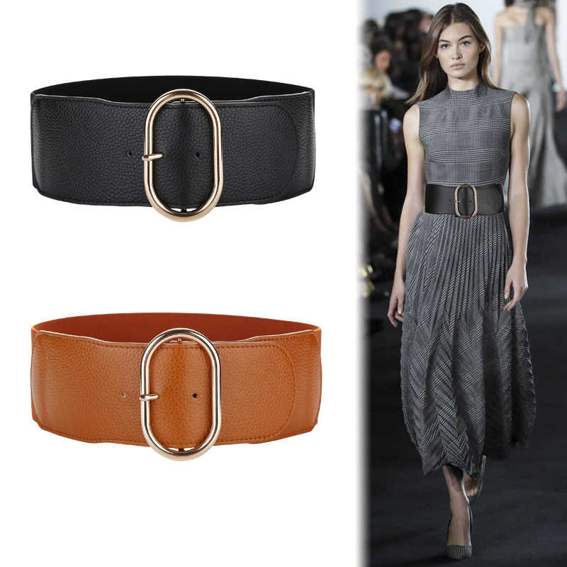Wide Black Real Cow Leather Cummerbunds Fashion Women Elastic Waistband Corset Belts For Women High Gold Buckle Waist Belt Lady
