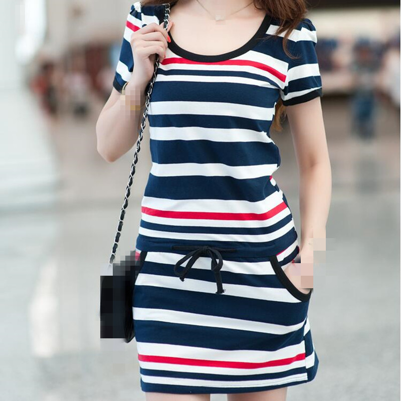 B1135 The New Spring/summer 2019 Women New Fat MM Large Yards Recreational Striped Shirt Dresses Package Hip