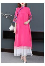 Новое весеннее элегантное платье в китайском ретро стиле с вышивкой