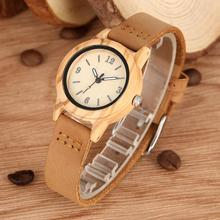 Classic Brown Case Wooden Watch for Women Typical Genuine Leather Strap Handmade Wood Wristwatch Gift orologio donna