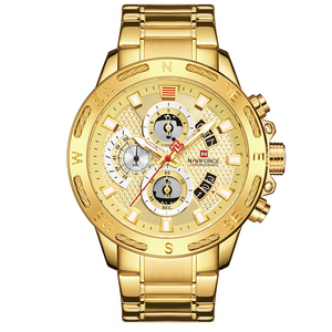 Image 5 - NAVIFORCE Luxury Brand Mens Sport Watches Gold Full Steel Quartz Watch Men Date Week Waterproof Military Clock Relogio Masculino