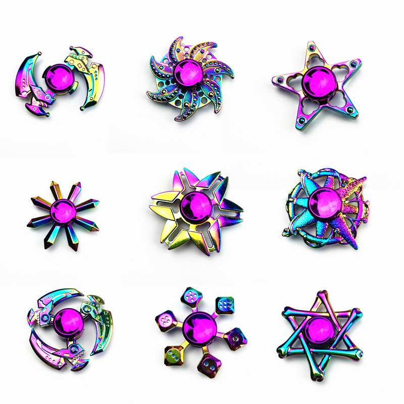 Fidget Spinner Rainbow Spinner-Hand Metal Gold EDC Fidget Toy Sensory Fidget Spinners Hand Spiner for Autism ADHD Kids Toys