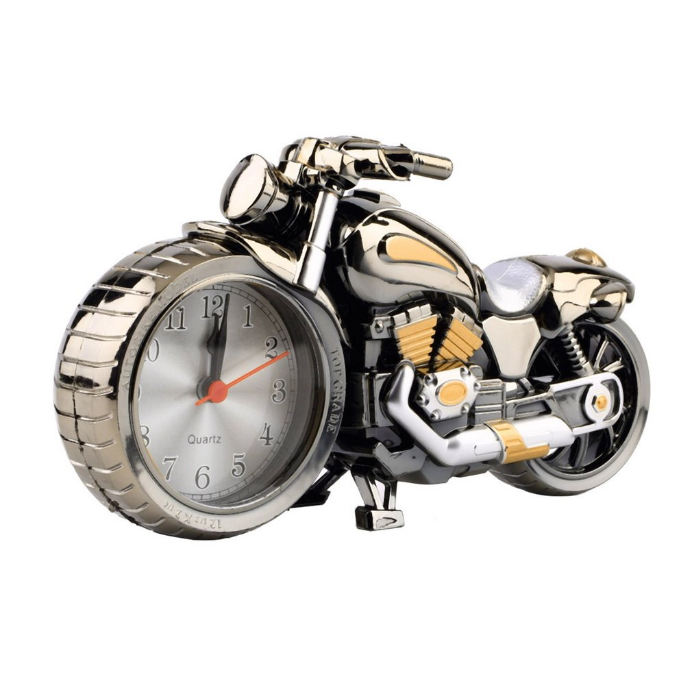 Creative Quality Motorcycle Clock Motorbike Pattern Alarm Desk Clocks Vintage Desktop Watches Xmas Christmas Festival Decor Gift
